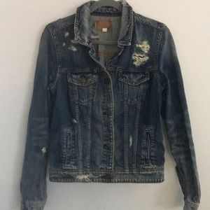 American Eagle Distressed Denim Jacket Medium